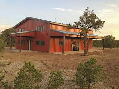 Photos of a workshop and custom living space in Catron County, New Mexico