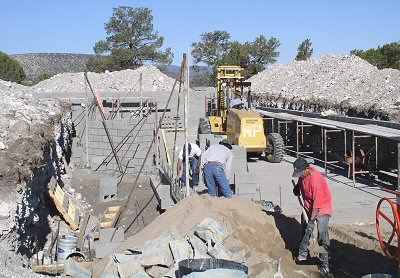 Photo of the crew laying block